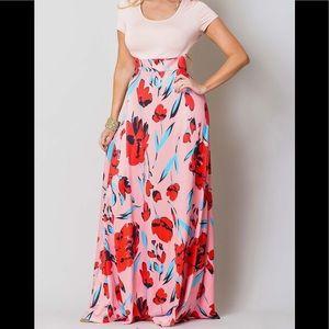 Dresses & Skirts - New Pink Floral Color Block Maxi Dress